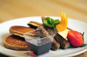 7 Grain, walnut pancakes with lean turkey sausage