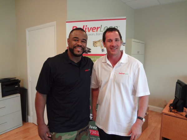 DeliverLean CEO Scott Harris with Sugar Rashad Evans at DeliverLean's corp headquarters in Boca Raton, FL