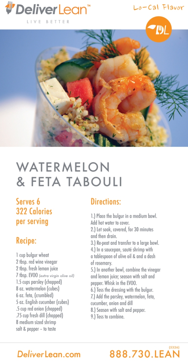 DeliverLean Watermelon & Feta Tabloui Recipe